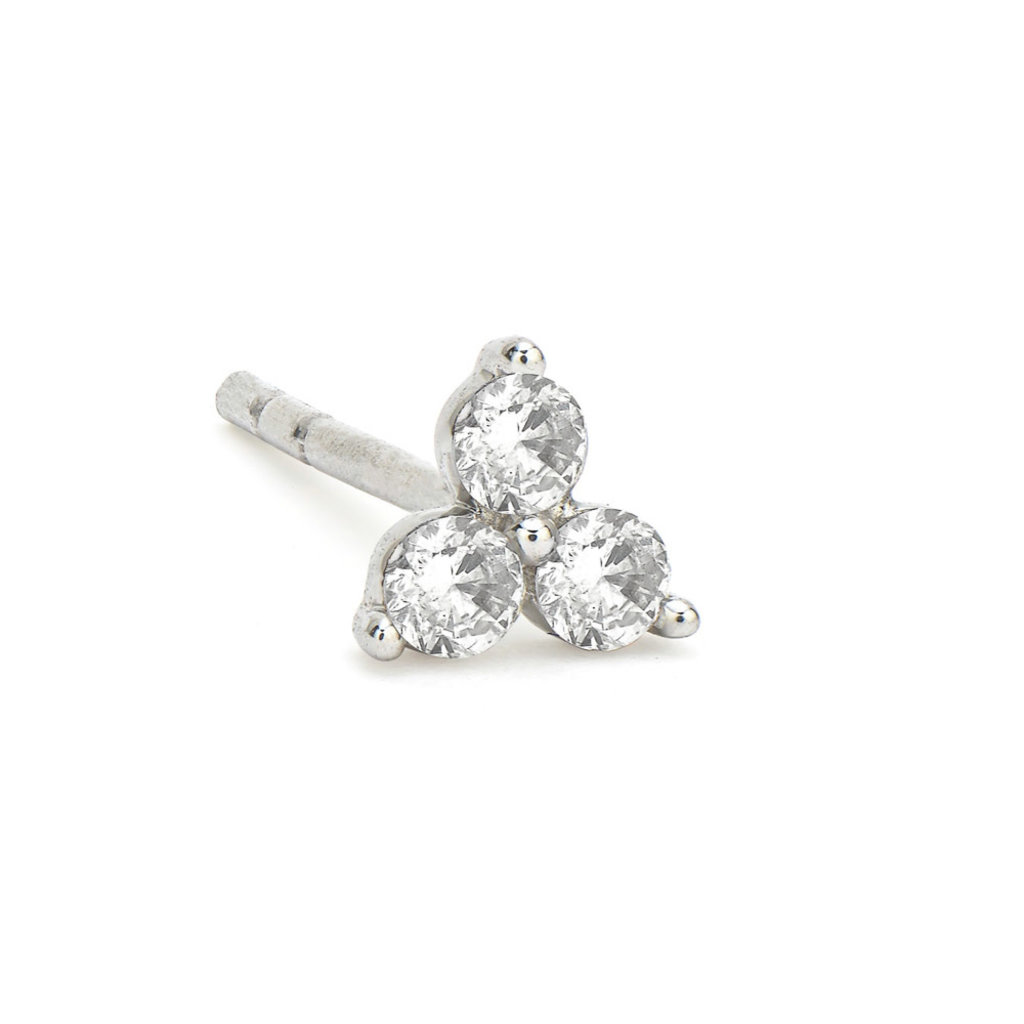 Jude Frances Petite Diamond Trio Stud Earring White Gold
