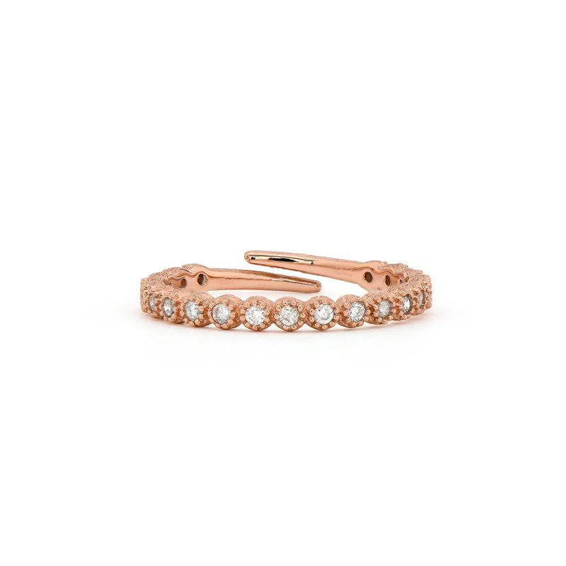 Jude Frances Petite Bezel Diamond Midi Ring Rose