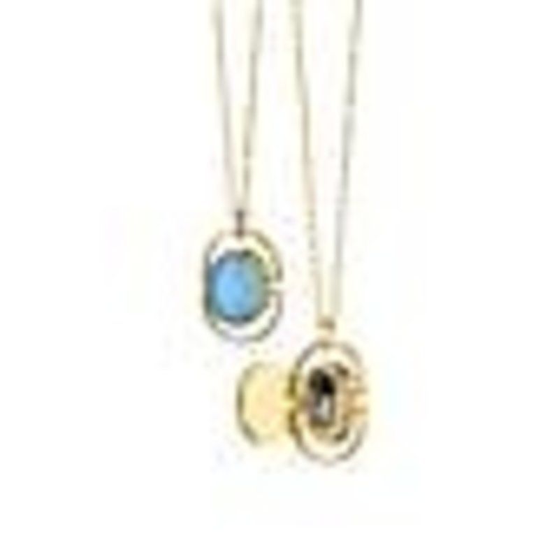 Monica Rich Petite Oval Blue Stone Locket Necklace