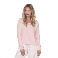 PJ Harlow Rosie Rib Knit Banded Bottom Long-Sleeve Scoop Neck Sweatshirt