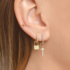 Jude Frances Petite Diamond Pave Key Earring Charm Yellow Gold