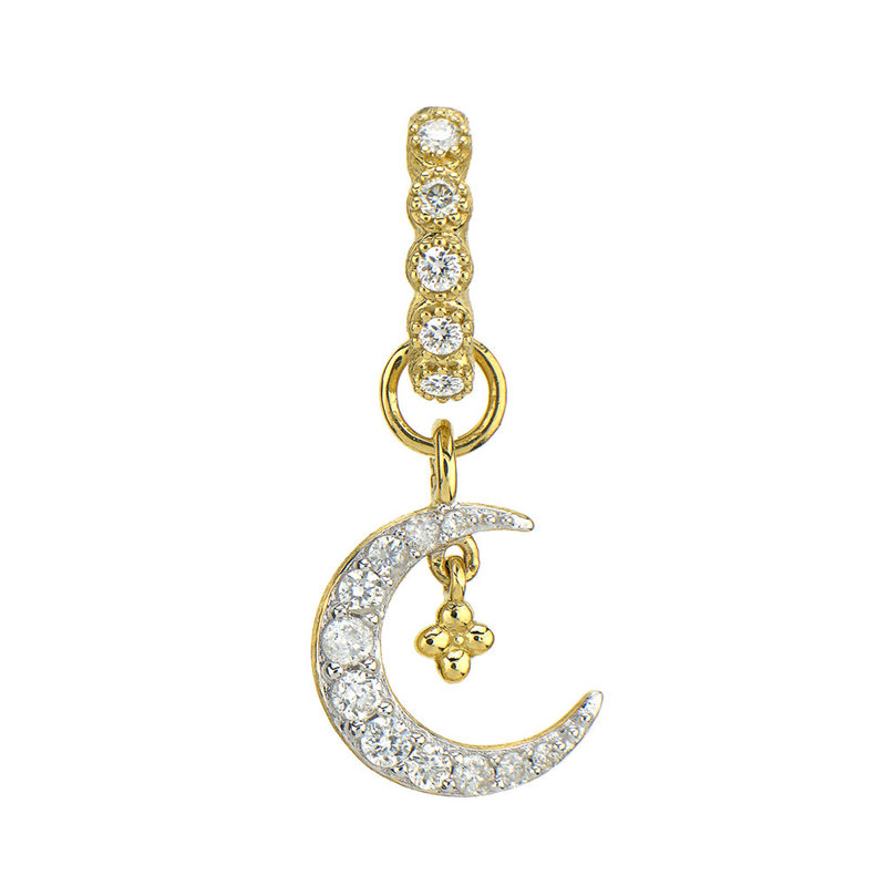 Jude Frances Petite Pave Diamond Crescent Moon Charm Yellow Gold