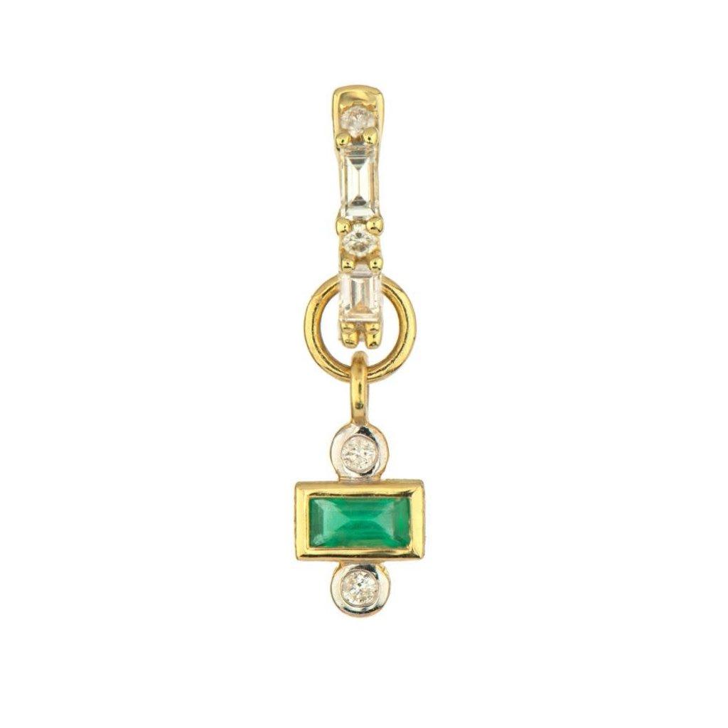 Jude Frances Petite Emerald Stone Charm with Diamonds