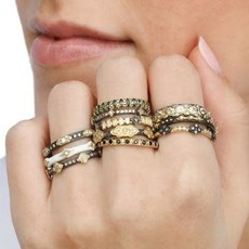 Armenta Pave Scroll Station Stack Band Ring