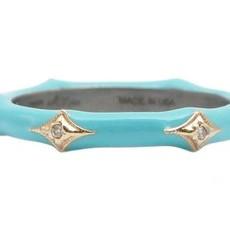 Armenta Turquoise Enamel Crivelli Stack Band Ring