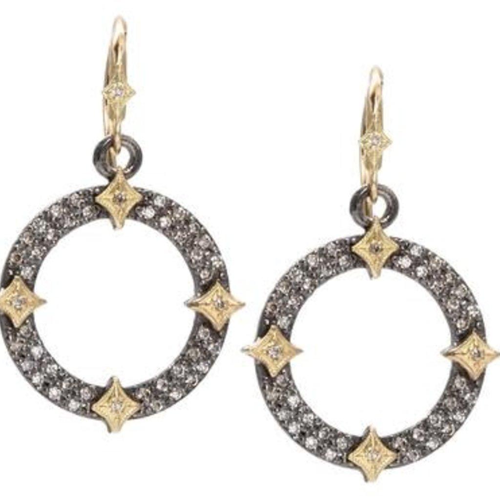 Armenta Pave Open Circle Drop Earrings