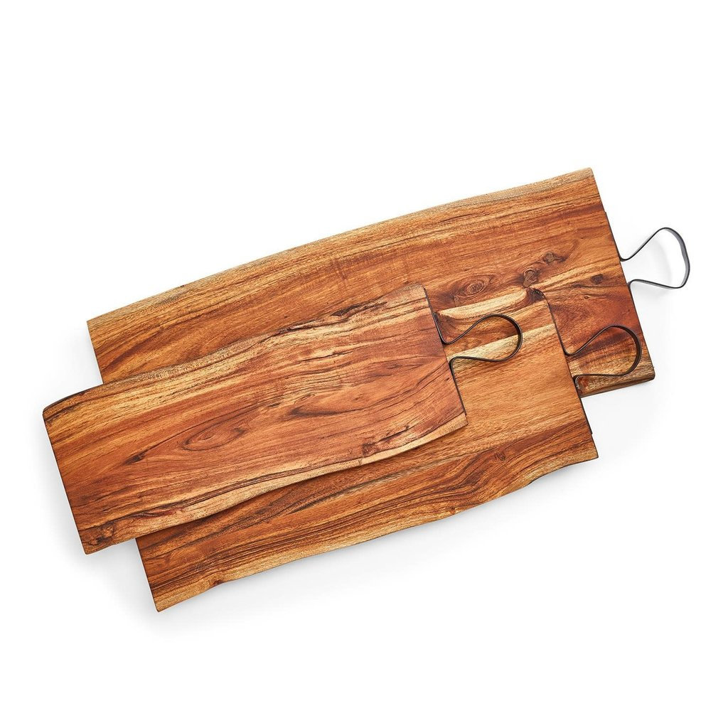 Two's Company Wood Serving Board with Iron Handle