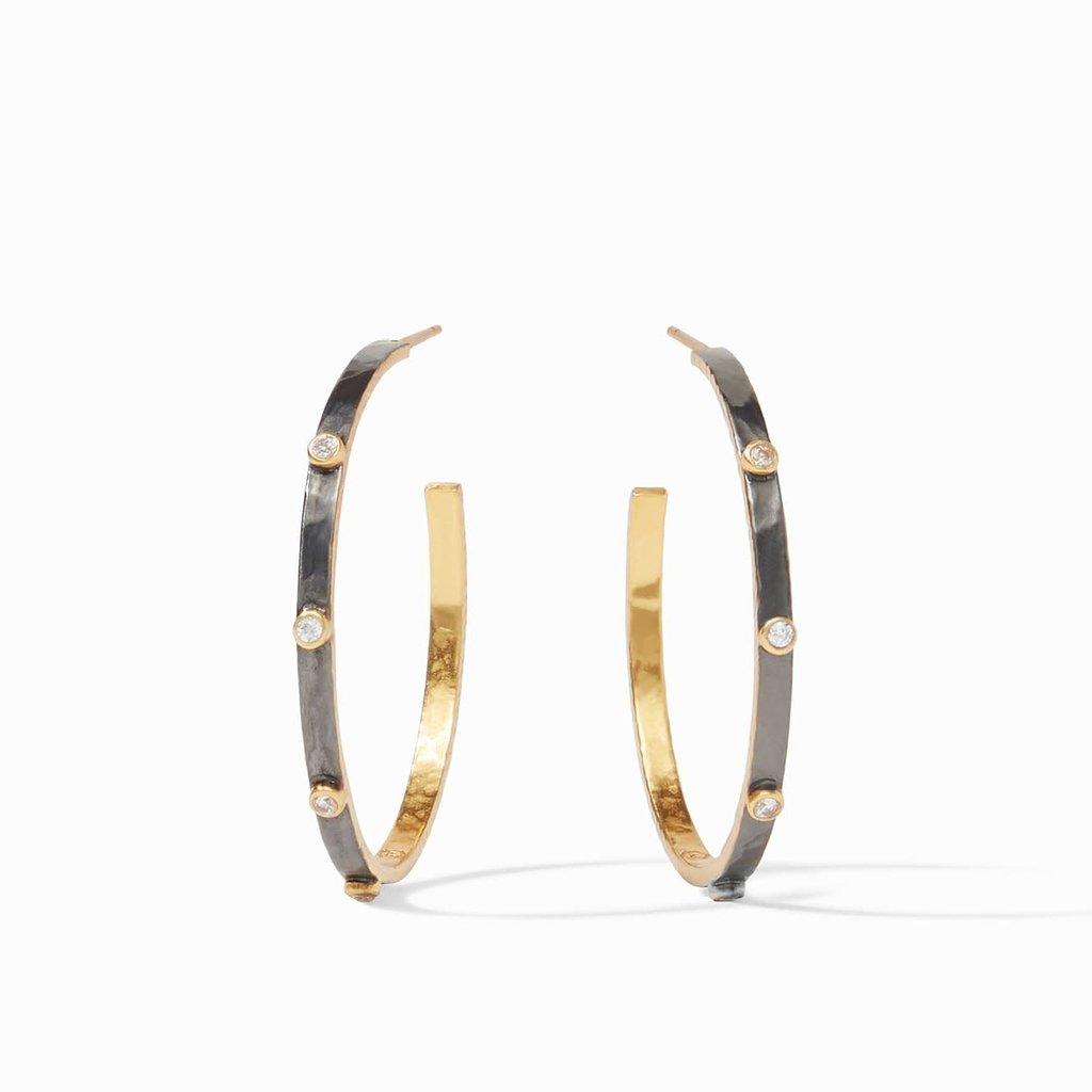 Julie Vos Crescent Stone Hoop Mixed Metal Earrings Large