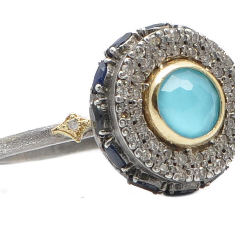 Armenta Turquoise Doublet Pave Diamond Circle