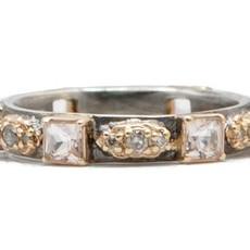 Armenta Rose Gold Mini Scroll Morganite Stack Ring