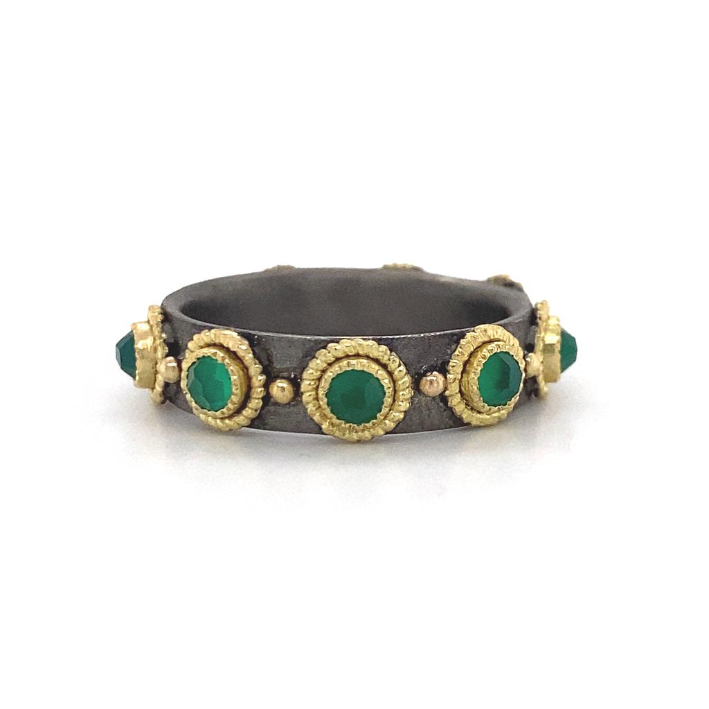 Armenta Green Onyx Stack Band Ring
