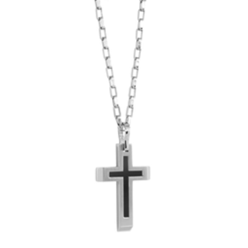 Italgem Matte Black Steel Cross Silver Necklace