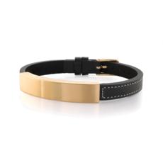 Italgem Gold And Black Leather ID Bracelet