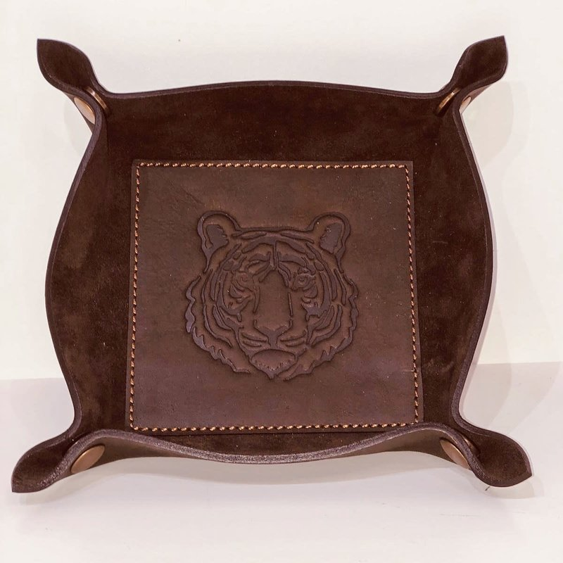 The Royal Standard Leather Tiger Embossed Valet Tray