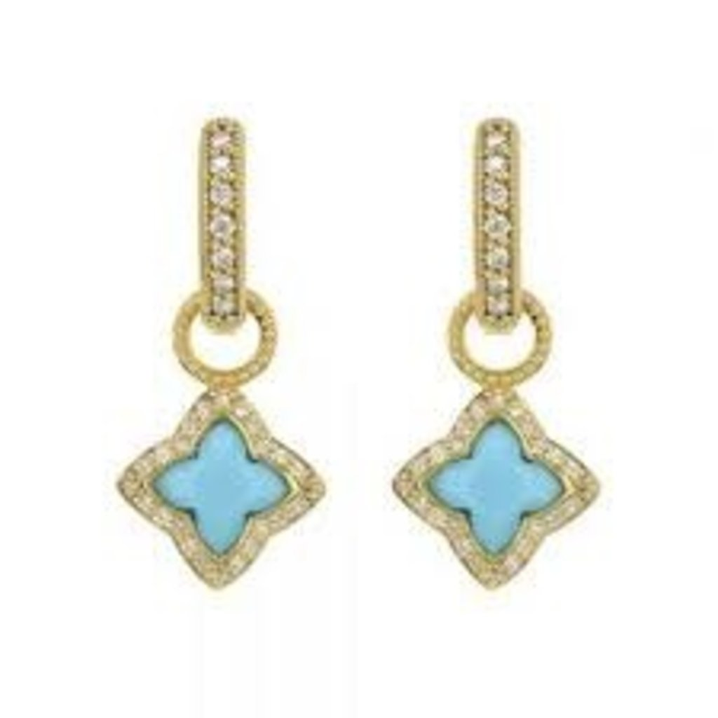 Jude Frances Moroccan Flower Stone Pave Halo Earring Charm