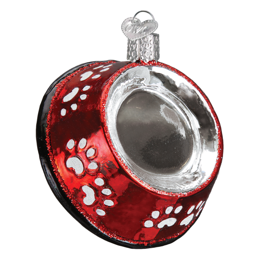 Old World Christmas Red Dog Bowl Ornament