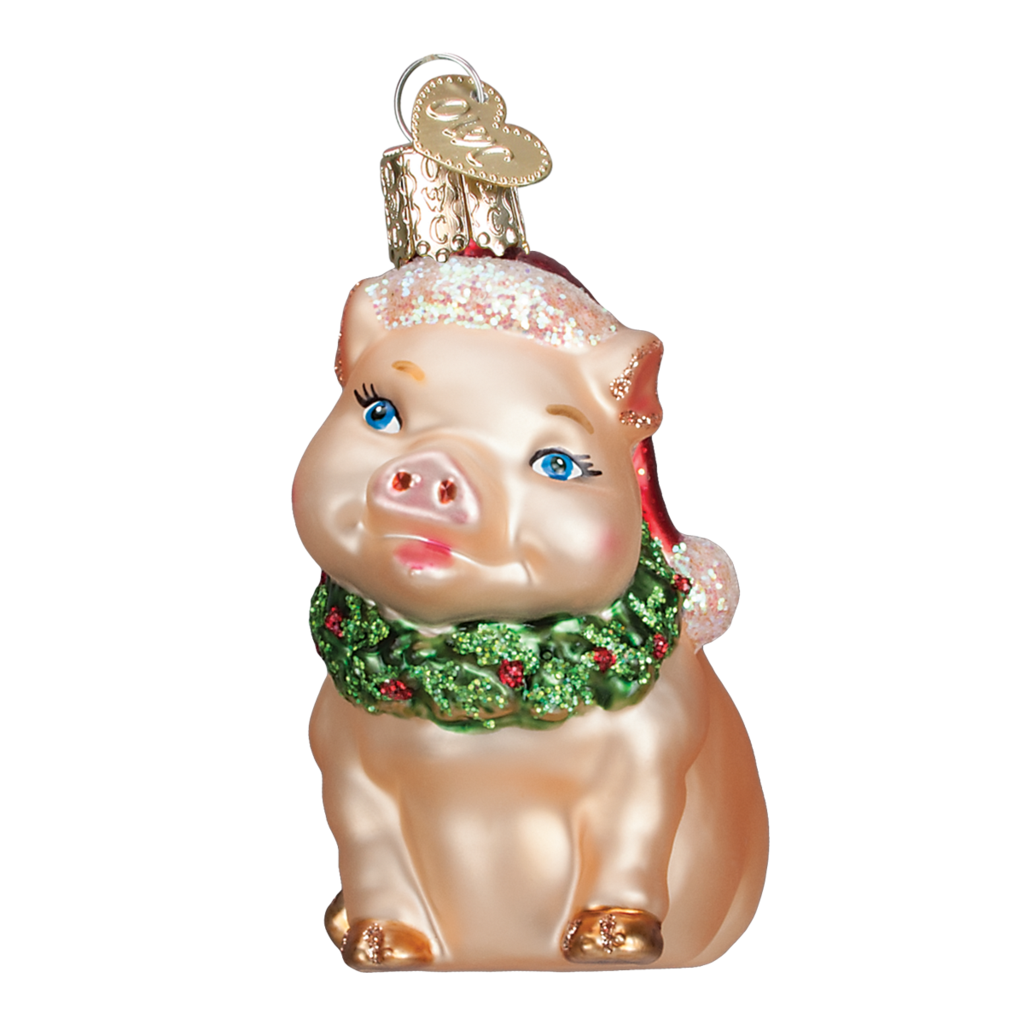 Old World Christmas Holly Pig Ornament
