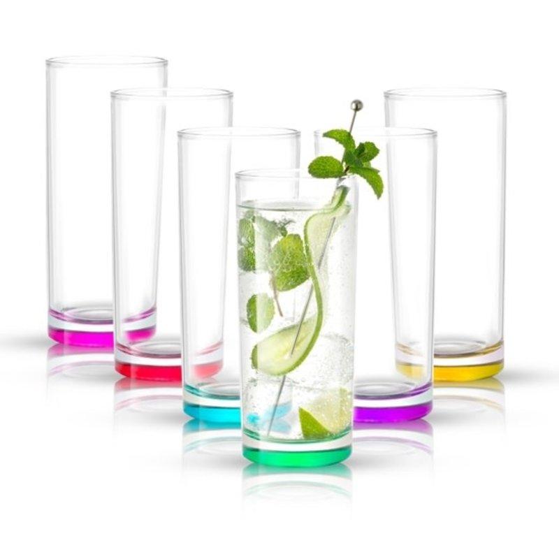 JoyJolt Colored Highball Glass Set