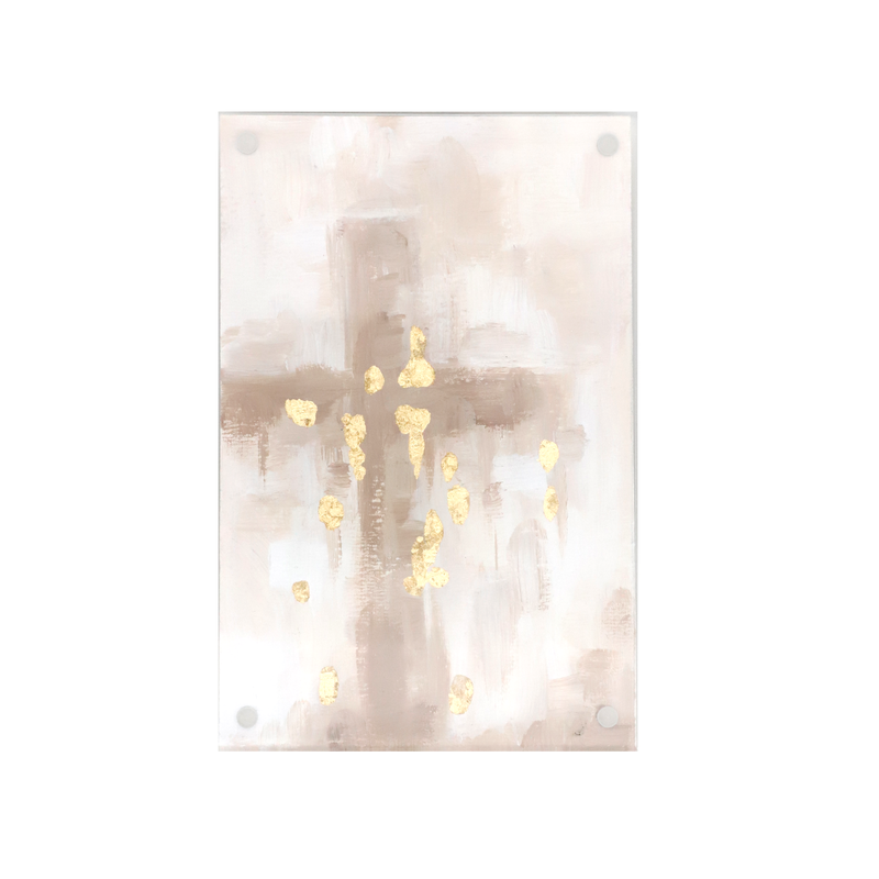 MADS Studio & Design Tan Cross with Gold Details in Acrylic Frame