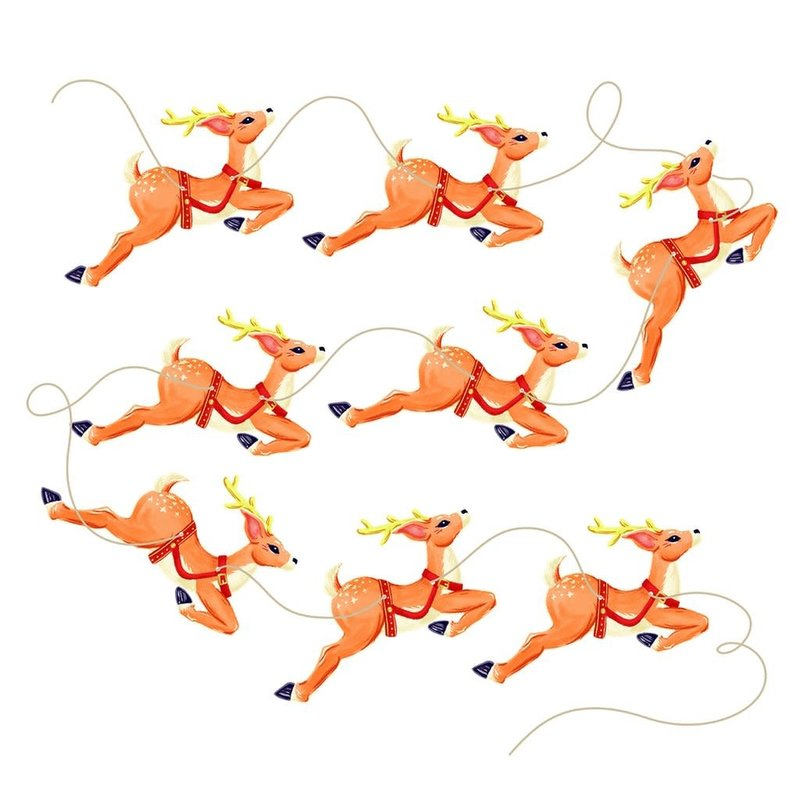 Hester & Cook Eight Tiny Reindeer Bunting