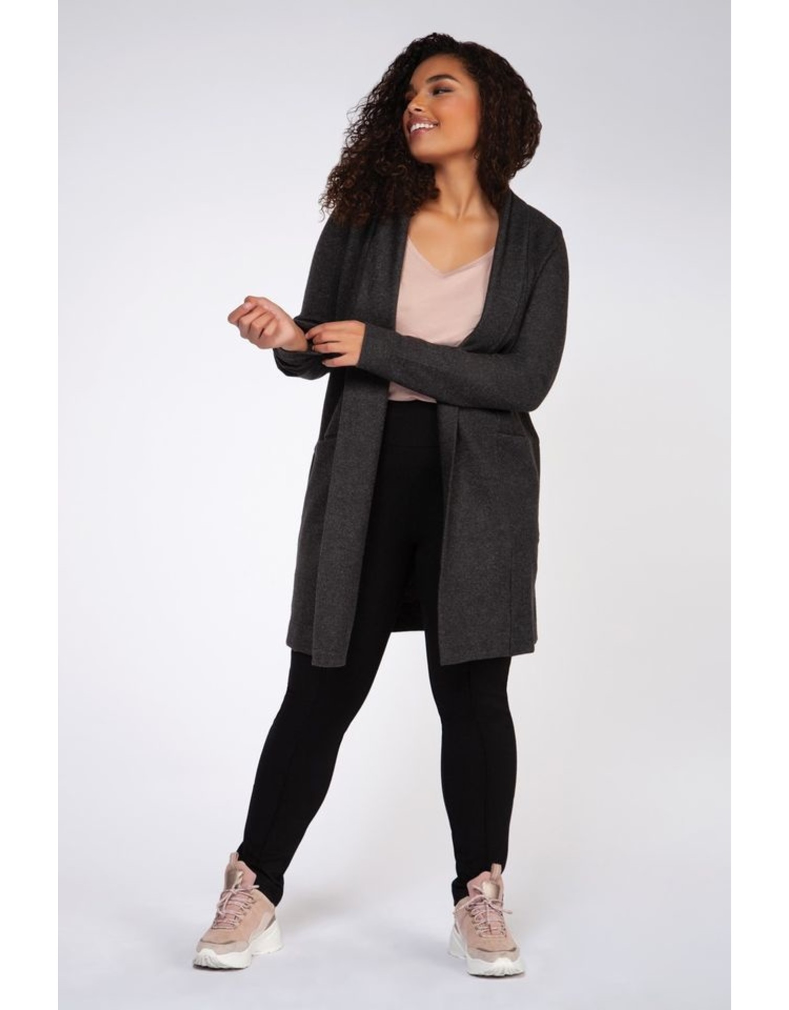 VESTE LONG SMOKE GREY HEATHER
