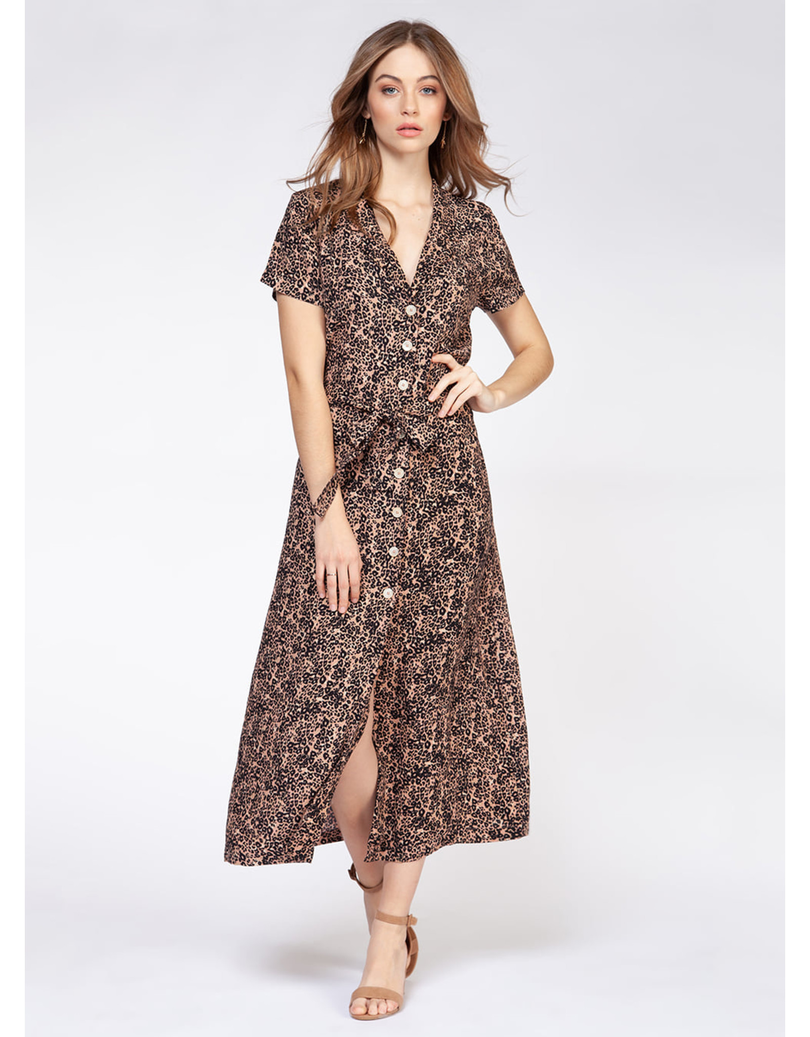 DEX S-SLV BUTTON FRONT MAXI DRESS