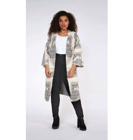 DEX PLUS CARDIGAN LONG A FORME TAUPE