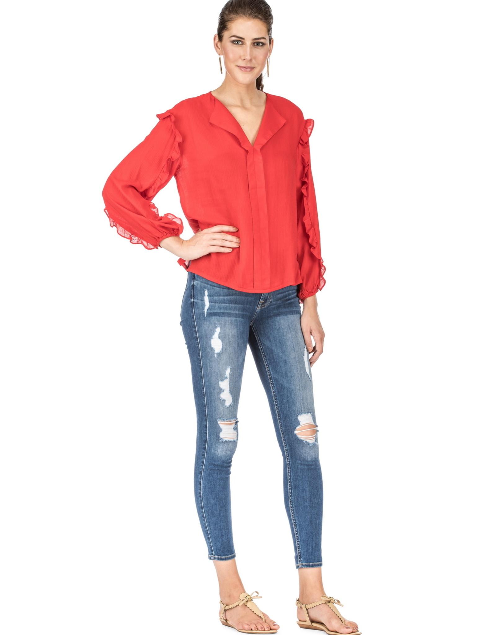 Jade Red Ruffle Sleeved Top