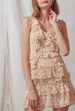 Storia Orange Floral Print Ruffle Dress