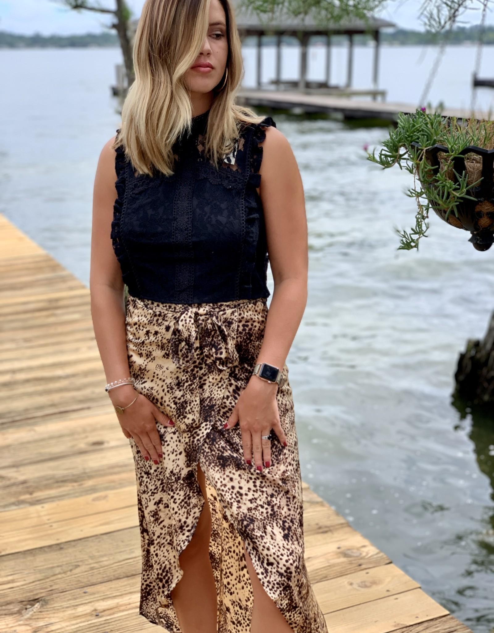 She and Sky Animal Print Wrap Skirt