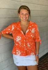 Saltwater Luxe Orange Floral Short Sleeve Jacket