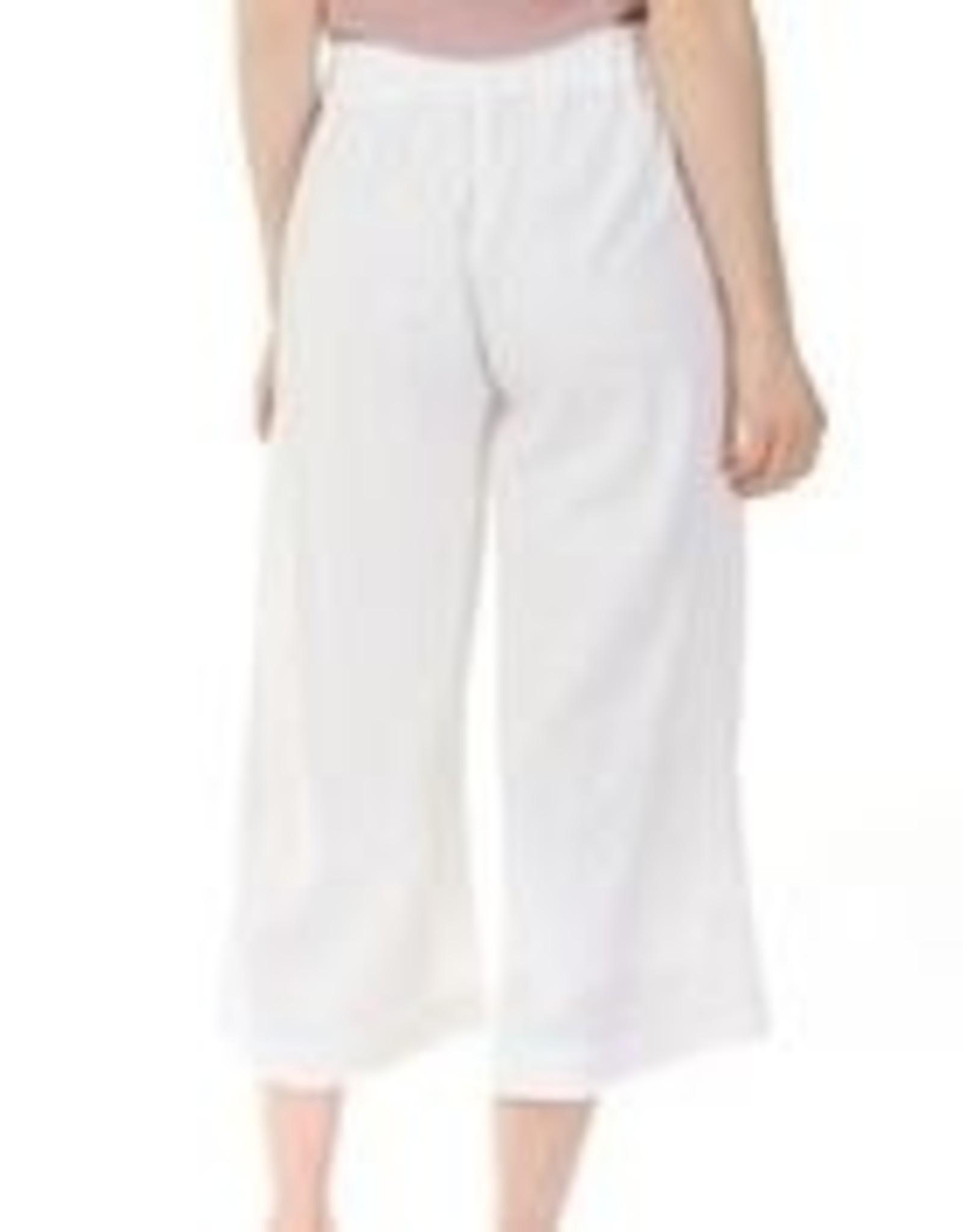 Charlie B White Linen Blend Palazzo Wide Leg Pant