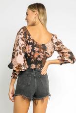 Olivaceous Blush/Black Floral Crop Top
