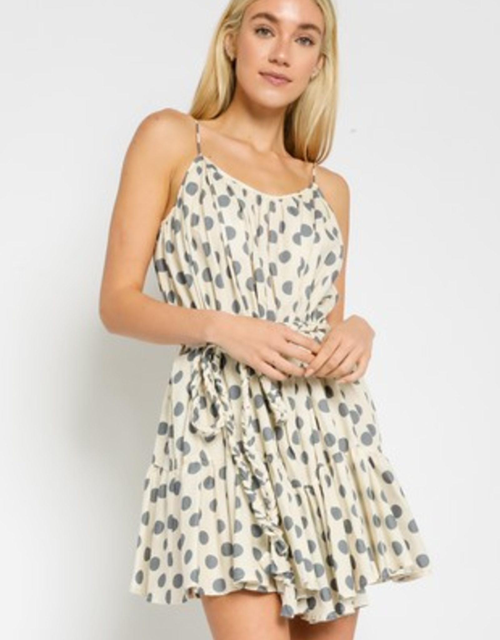 Olivaceous Cream/Grey Dot Dress