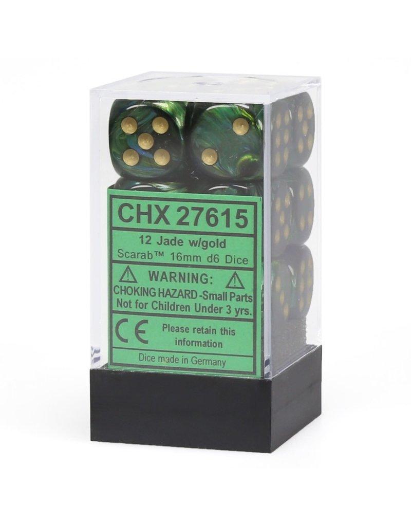 Chessex CHX27615 Dés 12 d6 16mm Scarab Jade