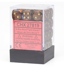 Chessex CHX27819 Dés 36 d6 12mm Scarab Blue Blood