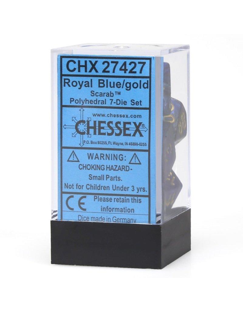 Chessex CHX27427 Dés Poly Scarab Bleu Royal