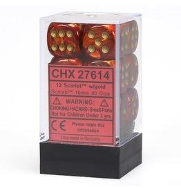 Chessex CHX27614 Dés 12 d6 16mm Scarab Scarlet