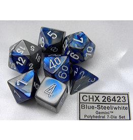 CHX26423 Dés Poly Gemini bleu acier