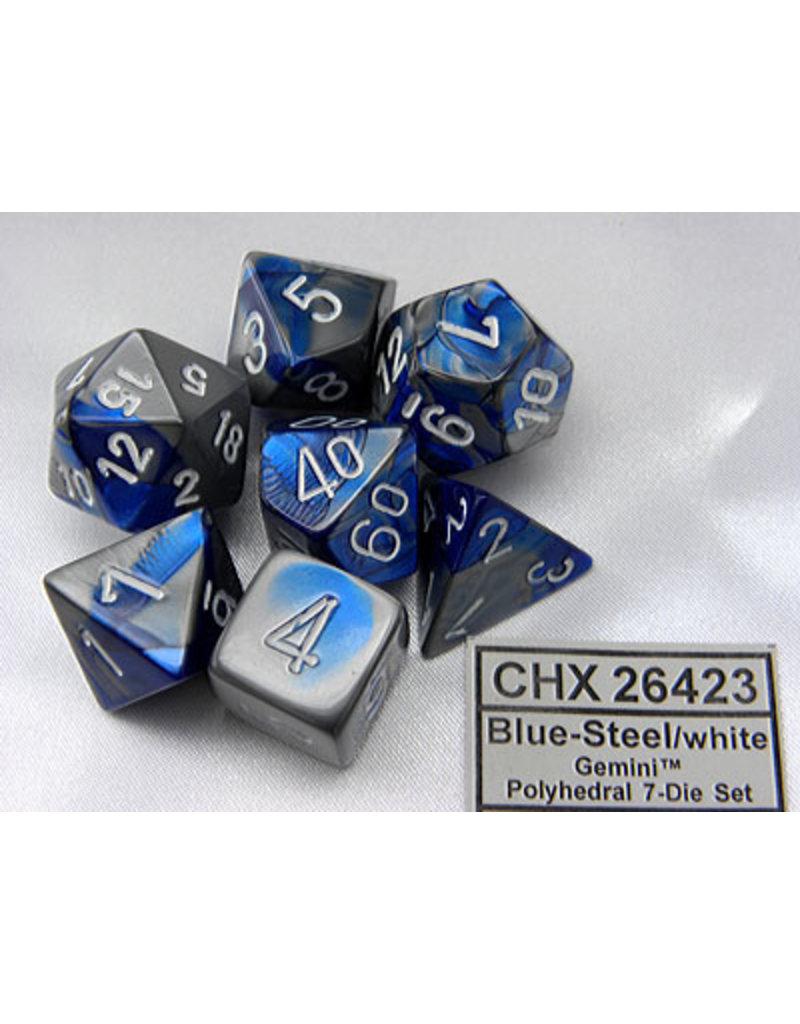 Chessex CHX26423 Dés Poly Gemini bleu acier