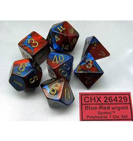CHX26429 Dés Poly Gemini bleu rouge