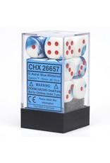 Chessex CHX26657 12 d6 16mm Gemini bleu astral - blanc