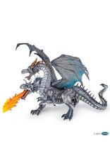 Papo Dragon deux têtes argenté
