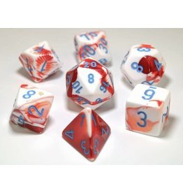 Chessex Gemini 7-die Set Red White/Blue