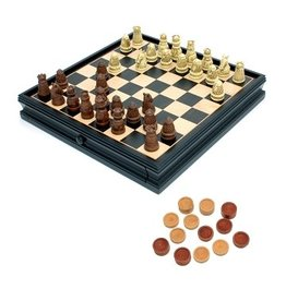 Wood Expressions Combo Chess/Checkers 15'' Medieval w/ Storage