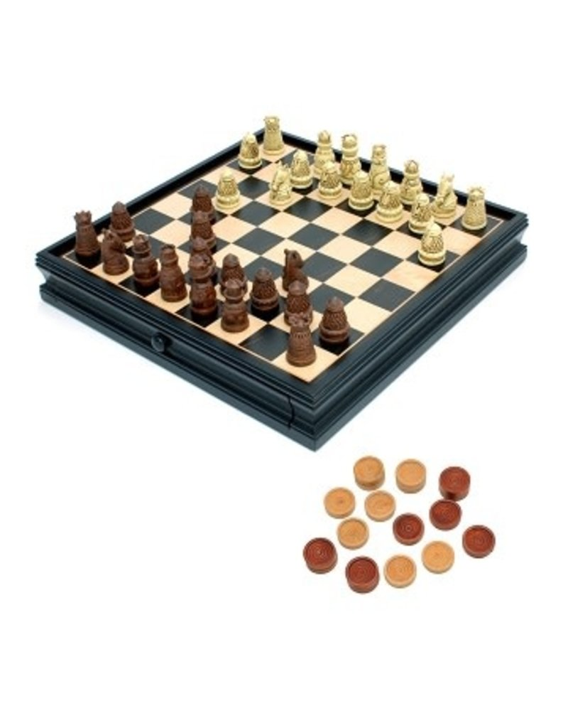 """Wood Expressions Combo Chess/Checkers 15"""" Medieval w/ Storage"""