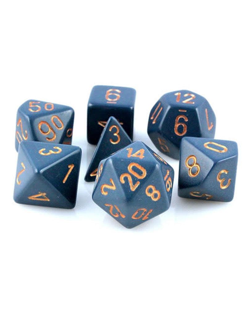 Chessex CHX25426 Dés poly bleu foncé cuivrés