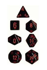 Chessex 7 dés poly opaques noir avec chiffres rouges