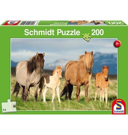 Schmidt-Spiele Puzzle 200mcx, Famille cheval / Child Family of Horses