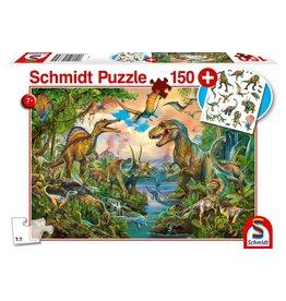 Schmidt-Spiele Puzzle 150mcx, Wild Dinosaurs, Dinos sauvages